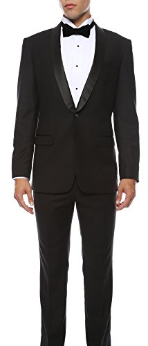 Ferrecci Men's Reno 2 Piece Black Slim Fit Shawl Lapel Tuxedo - 36S