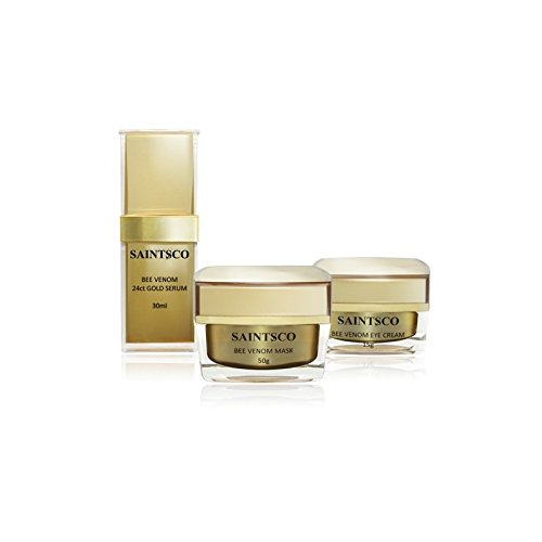 Saintsco Luxury Natural Anti-Aging Royal Beauty Pack with Anti-Aging Bee Venom Mask, Anti-Aging Eye Cream, and Bee Venom and 24k Gold Serum - Real Anti-Aging Results, Right Now