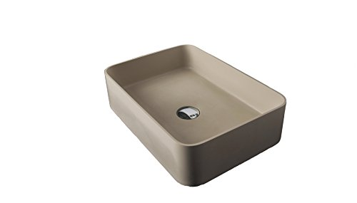 ID Solid Surface 20 in. Square Vessel Sink Bowl Above Counter Sink Lavatory by ID Bath Collection