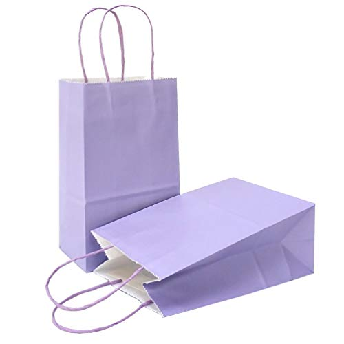 AZOWA Gift Bags Small Kraft Paper Bags with Handles (8 x 6 x 3 in, Light Purple, 25 Pcs)