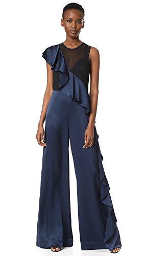 Silk Charmeuse Pants (Diane von Furstenberg Women's Sleeveless Ruffle Jumpsuit, Midnight/Black, 2)