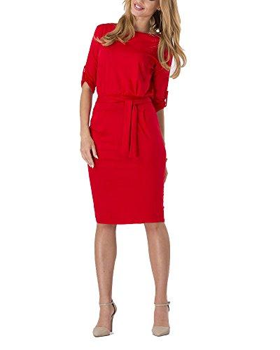 Casual Manche Robe ZhuiKun Rouge Robe Demie Slim Femmes 4q1nARwa