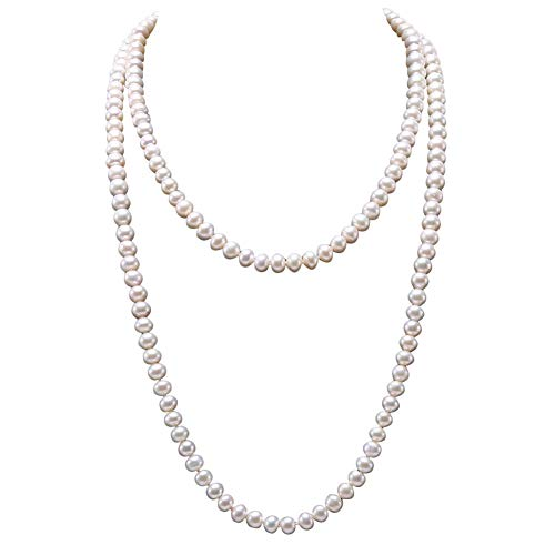 JYX Pearl Necklace Gorgeous Classic Genuine 9-10mm Round White Freshwater Pearl Endless Sweater Necklace for Women 48