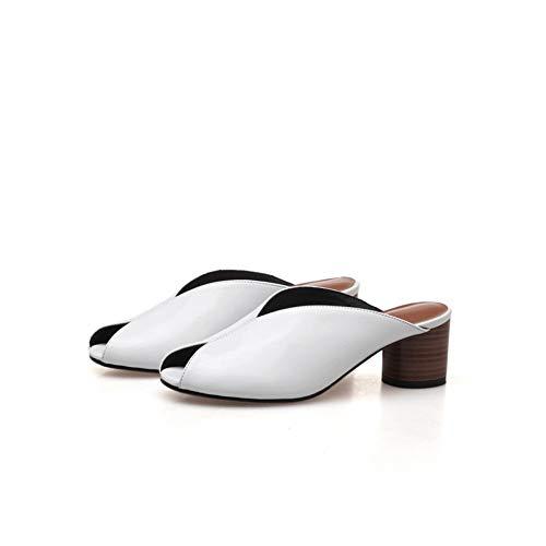 De Cuero Pingxiannv Bajo Cm Zapatillas Tres Lady Mules Altura 4 White Zapatos Tacón Mujer Colores Bf4w54qx