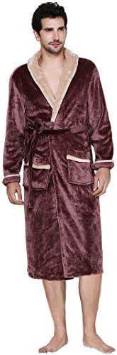 メンズ パジャマ ルームウェア バスローブ 長袖 もこもこ あったか フランネル 前開き 部屋着 バス用品 秋冬 速乾 軽量 吸水