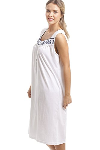 Ärmelloses Nachthemd - Klassisch mit dunkelblauem Blumenmuster - Weiß Weiß D126UaXu5n