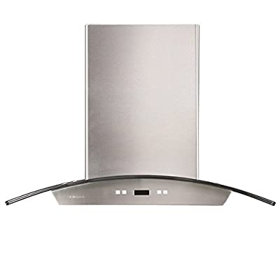 "CAVALIERE 24"" Wall Mounted Stainless Steel / Glass Kitchen Range Hood 900 CFM SV218D-24"
