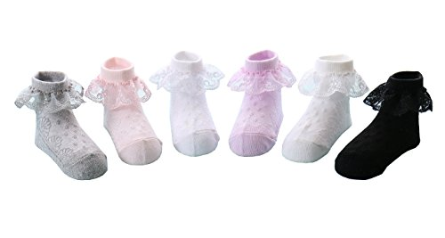CHUNG Toddler Baby Girls Princess Cotton Socks with Lace Ruffles for Dress School, Black Lace, 1-3Y from CHUNG