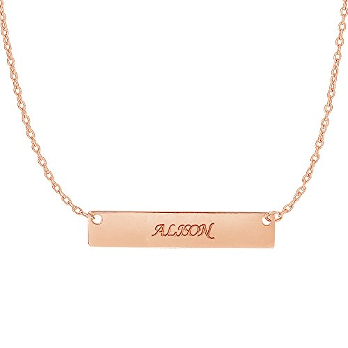 14k Rose Pink Gold Bar Pendant Name Plate with Front and Back Engraving Adjustable Necklace 16 to 18 Inches by Ritastephens