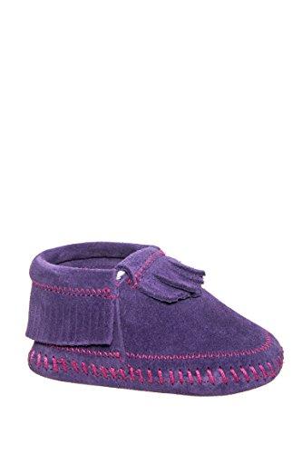 Minnetonka Infant-Girls' Riley Moccasin Booties Purple 4 M US ()