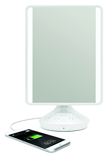 "iHome 7"" x 9"" Reflect iCVBT2 Adjustable Vanity Mirror with Bluetooth Audio, Hands-Free Speakerphone, LED Lighting, Siri & Google Support USB Charging, Flat Panel LED Lighting (White) (White, 7"" x 9"")"