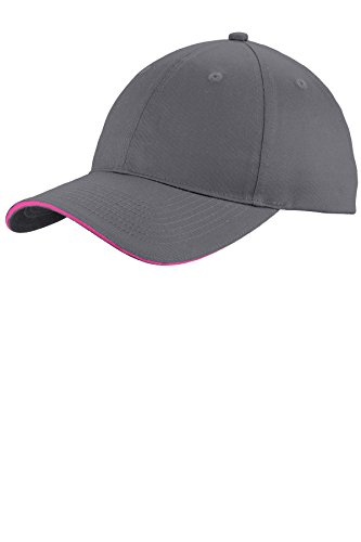 Port & Company Unstructured Sandwich Bill Cap C919 Charcoal/Sangria One Size (Company Sandwich Bill Cap)