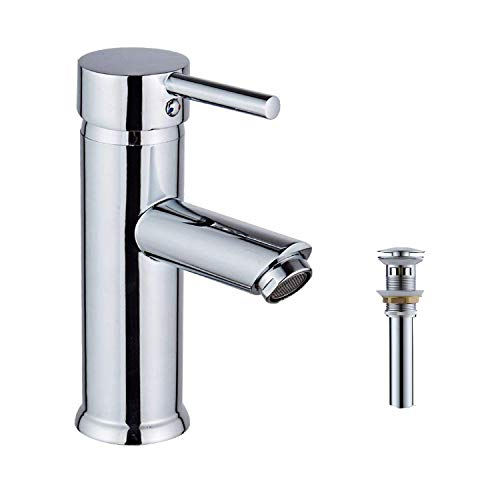- GGStudy Chrome Single Handle One Hole Bathroom Sink Faucet Stainless Steel Matching Pop Up Drain With Overflow