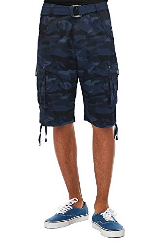 ETHANOL Mens Everyday Belted Cargo Shorts ASH44088 Navy Camou ()