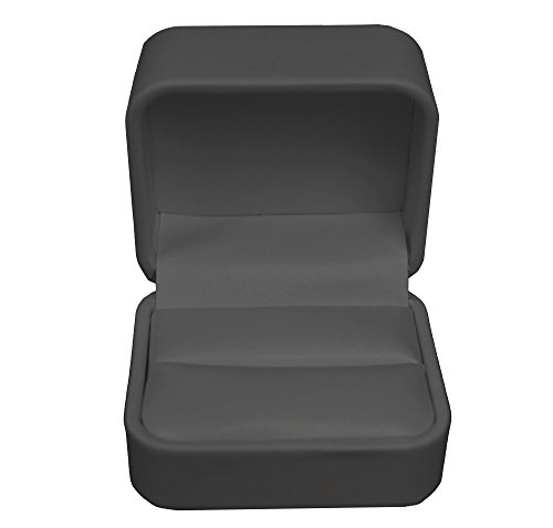 Geff House Leatherette Double Ring Box (Black)