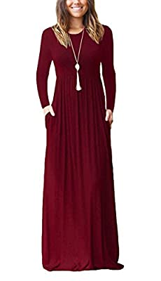 Euovmy Women's Long Sleeve Loose Plain Maxi Dresses Casual Long Dresses with Pockets