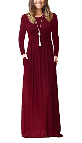 Viishow Women's Solid Long Maxi Casual Dress O Neck Long Sleeve with Pockets Basic Dresses Wine red(Wine Red,S)