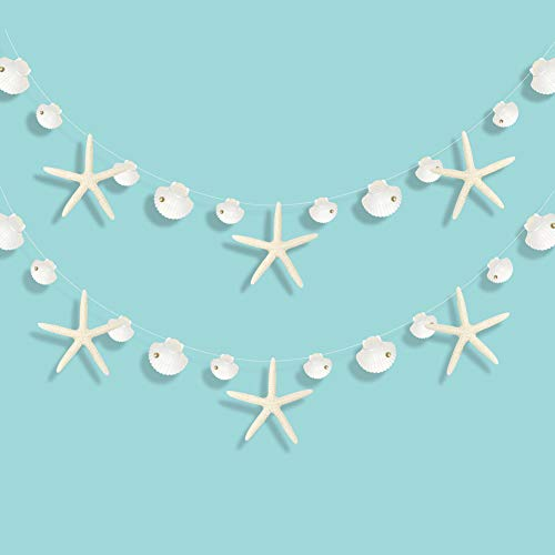 Paper White Finger Starfish and Seashell Garland Kit for Ocean/Coastal/Nautical Party Decoration Starfish Cutouts Hanging Bunting Banner for Under the Sea/Mermaid Birthday/Beach Wedding/Baby Shower/Kids Room/Christmas Tree/Home Décor
