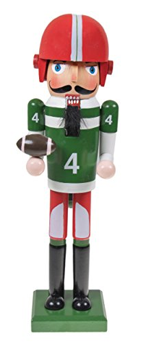 Football Player Nutcracker by Clever Creations | Traditional Christmas Wooden Decor | Wearing Jersey and Holding a Football | Festive Christmas Decor | Perfect for Shelves and Tables | 15
