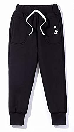 Fruitsunchen Little Boys' Girls' Cotton Fleece Sweatpants Jogger Pants for 2-7T (2T, Black)