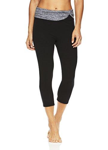 Gaiam Women's Om Capri Yoga Pants - Performance Spandex Compression Legging - Black Taylor Twist, Small