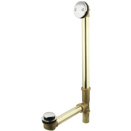 Kingston Brass PDTT2201 20-Inch Tub Waste and Overflow with 17-Gauge Tip Toe Drain, Polished ()