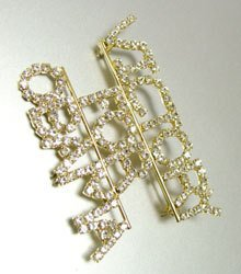 VICTORY FOR OBAMA RHINESTONE SIlVER & GOLD DESIGN PIN 2 1/2