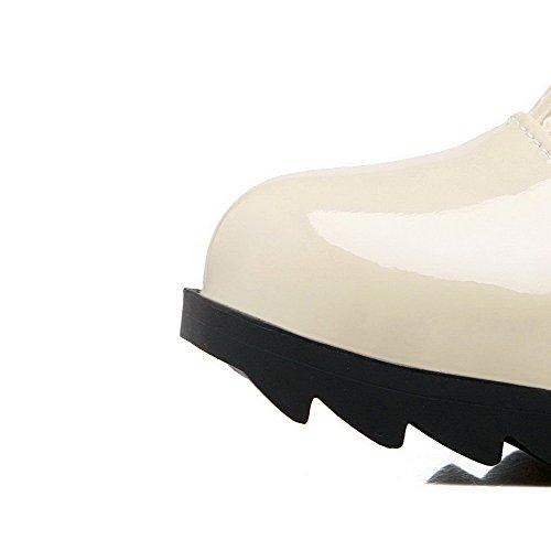 VogueZone009 Damen Rund Zehe Knie Hohe Niedriger Absatz Gitterartig Gaze Stiefel, Cremefarben, 37