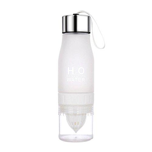 Scrub Non-slip Manual Juice Water Bottle,YJM 650ML Lemon Cup Bottle H2O Drink More Water Drinking Bike Bottle (White) by YJM