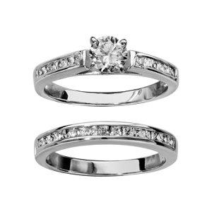 1001 Bijoux - Bague argent rhodié double anneau rail zirconias blancs et solitaire blanc