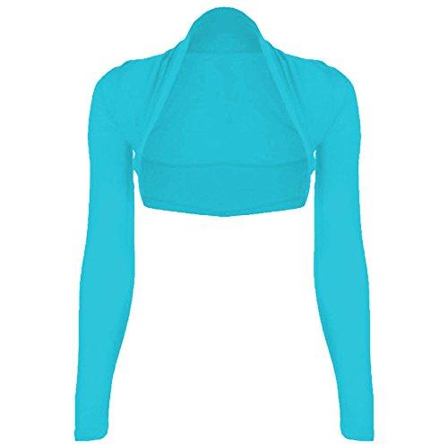 Bolero Shrug Long Sleeve Turquoise Cropped Plain xTwxYqUt