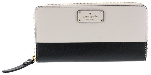 Womens Cement (Kate Spade New York Neda Grove Street Leather Zip Around Wallet (Black/Cement))