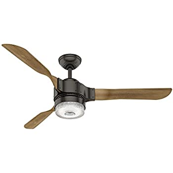 "Hunter 59226 54"" Apache Ceiling Fan with Light with Handheld Remote, Large, Noble Bronze, Works with Amazon Alexa"