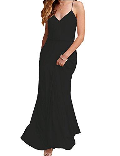 Spaghetti Women Wedding Beach Black Dress Maxi Strap V Chiffon Neck Amore Bridal Bridesmaid xaqA5wI4
