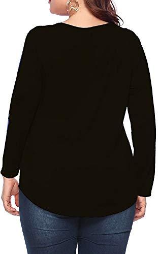 caidyny Womens Plus-Size V-Neck Tops, Causal Long Sleeve Soild Color Tunic Shirts(Black,2XL)