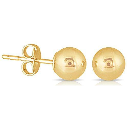 10K Yellow Gold 4mm Ball Stud Earrings ()