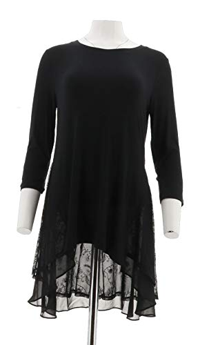 LOGO Lori Goldstein Knit Top 3/4 Length Slv Embroidered Mesh Black S NEW A258918 from LOGO by LORI GOLDSTEIN