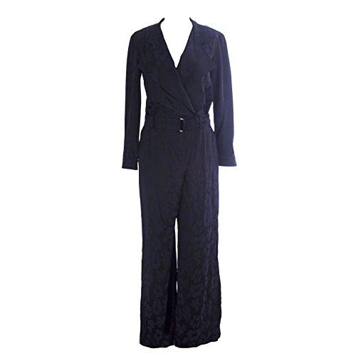MaxMara Women's Monviso Floral Jacquard Jumpsuit Sz 8 Navy Blue