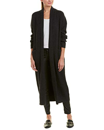 Vince Womens Ribbed Wool & Cashmere-Blend Robe, L, Grey - Grey Cashmere Wool Ribbed