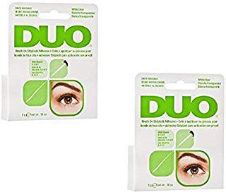DUO Brush-On Lash Adhesive with Vitamins A, C & E, Clear, 0.18 oz - 2 Pack (6 Pinkleaf Greeting Cards Included) by DUO