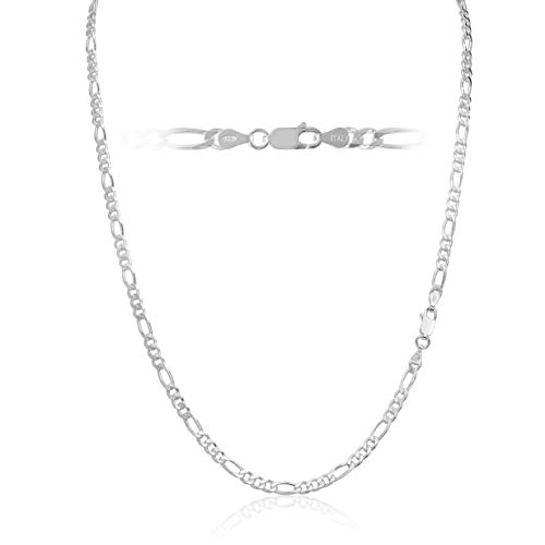 Men's 3.5mm 100 Gauge Figaro Chain Solid .925 Sterling Silver Necklace, 28 Inch