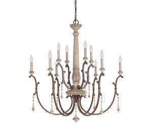 Capital Lighting 4090FO Chateau 10-Light Chandelier, French Oak Finish with Accent Fobs