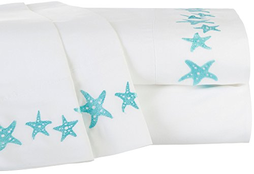 Price comparison product image Tackle & Tides Embroidered Starfish Microfiber Sheet Set Full White/teal