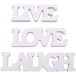 SM SunniMix 3Pcs/Set Laugh Live Love White Wooden Words Sign Decor Wall Art Decoration Home Ornaments Bedroom Living Room Decoration