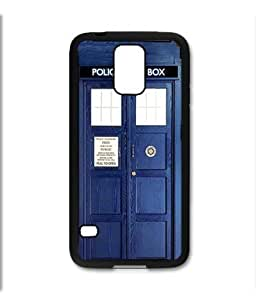 Samsung Galaxy S5 SV Black Rubber Silicone Case - Dr Who Tardis Police Call Box Phone Booth Blue