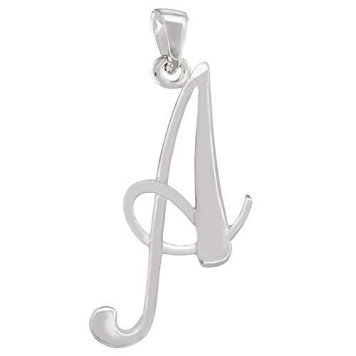 CloseoutWarehouse Sterling Silver Letter A Classic Script Initial Pendant (Letters A-Z ()