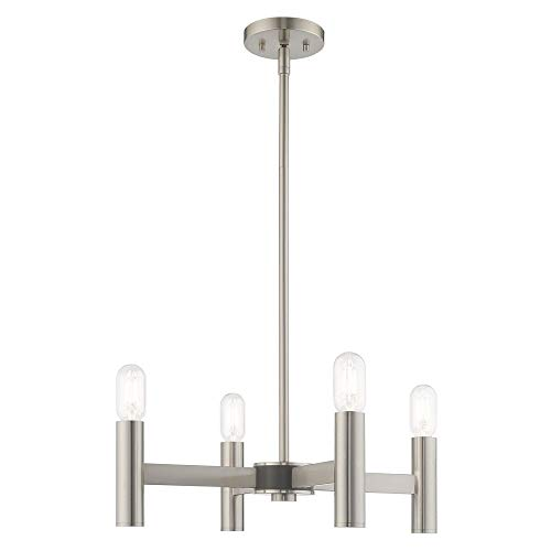 Livex Lighting 51134-91 Copenhagen - Four Light Mini Chandelier, Brushed Nickel Finish