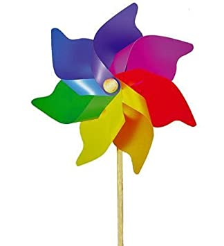Delightful Extra Large Multi Coloured Rainbow Garden Windmill 110cm By Windmills And  Windsocks