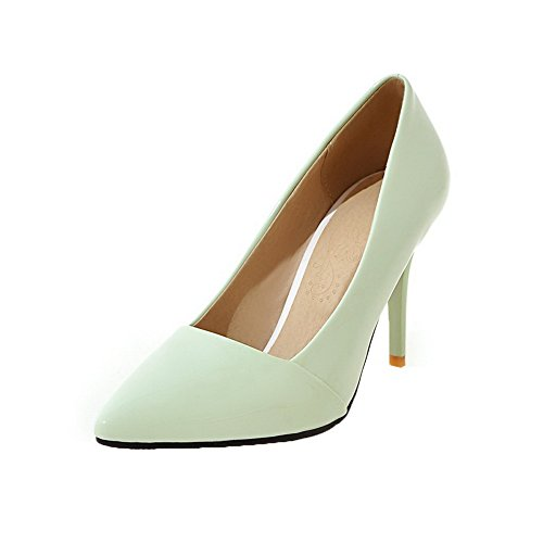 VogueZone009 Women's Patent Leather Closed-Toe High-Heels Pull-On Pumps-Shoes Green XN6knDc
