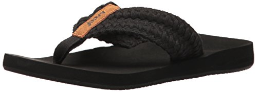 Reef Women's Cushion Threads Flip-Flop, Black, 9 M US